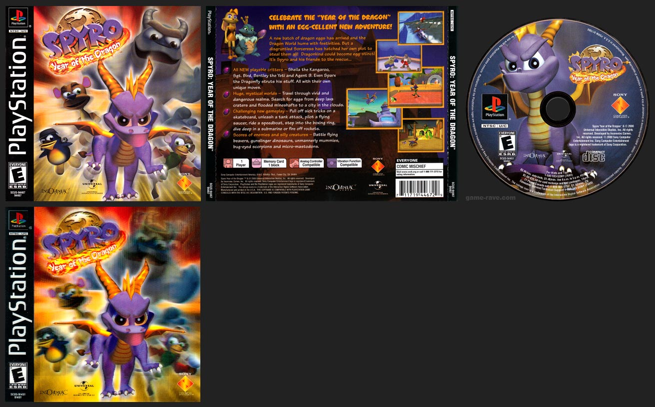 PSX PlayStation Spyro: Year of the Dragon Lenticular Cover