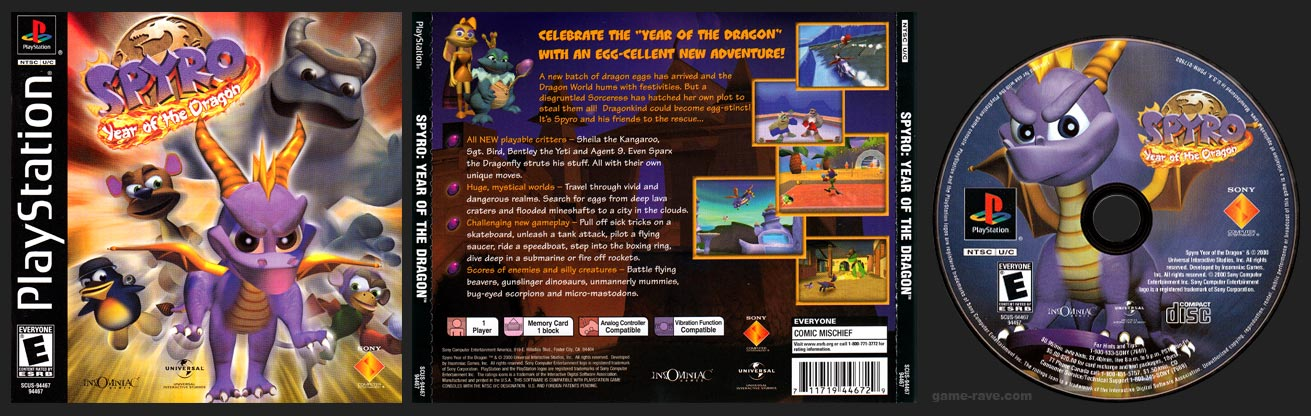 PSX PlayStation Spyro: Year of the Dragon