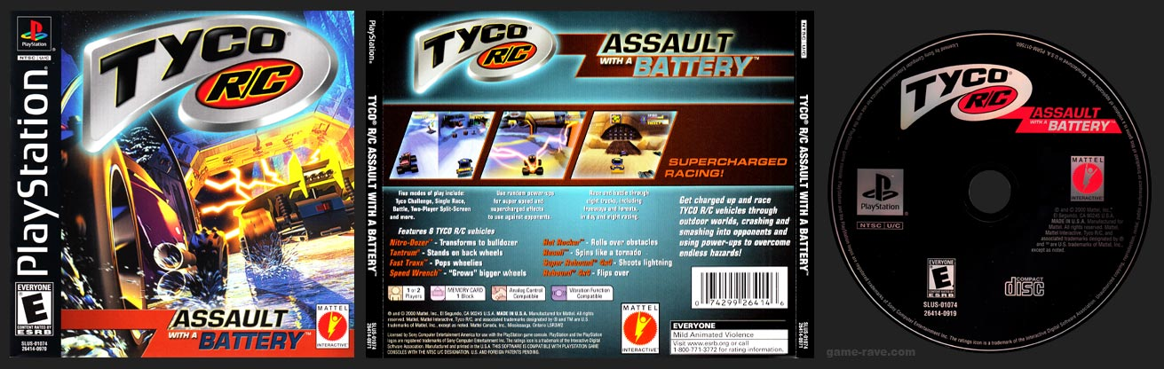 PSX PlayStation Tyco R/C Assault With a Battery