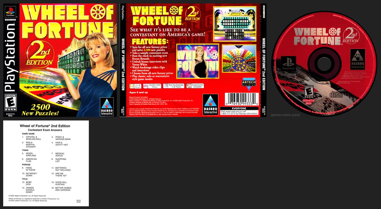 PSX PlayStation Wheel of Fortune 2nd Edition