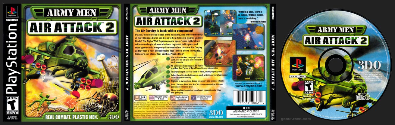 PSX PlayStation Black Label Retail Release Army Men - Air Attack 2