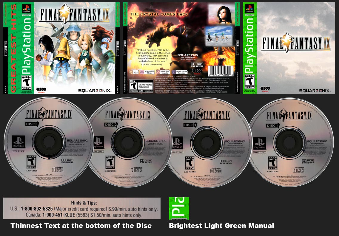 PSX PlayStation Final Fantasy IX Greatest Hits Square-Enix Store Version 1