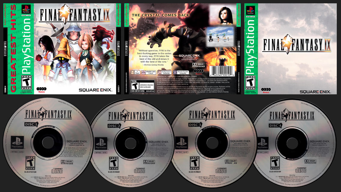 PSX PlayStation Final Fantasy IX 2nd Greatest Hits Release with ESRB Relocated