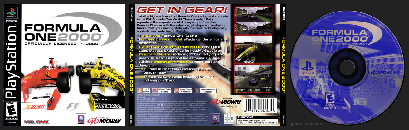 PSX PlayStation Formula One 2000 Black Labe Retail Release