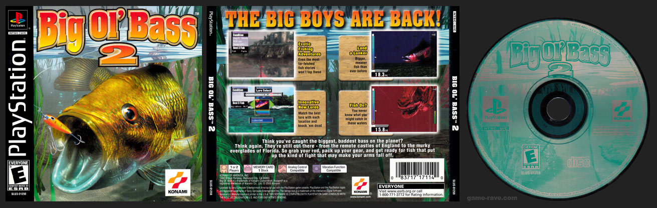 PSX PlayStation Big Ol' Bass 2 Black Label Retail Release