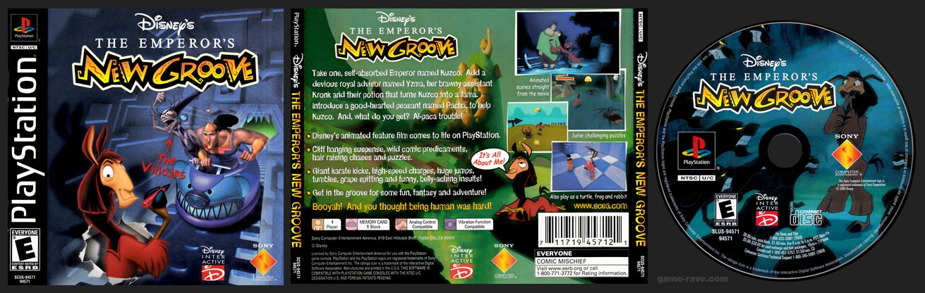 PSX PlayStation Disney's The Emperor's New Groove Black Label Retail Release