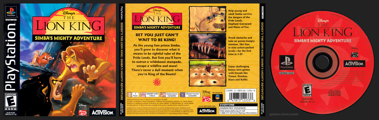 PSX PlayStation Disney's The Lion King: Simba's Mighty Adventure Black Label Retail Release