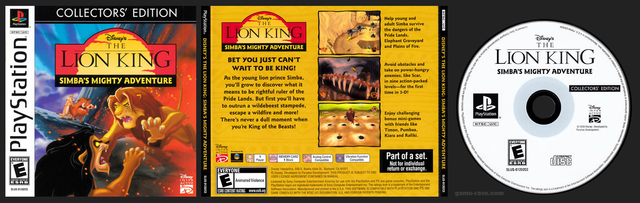 PSX PlayStation Disney's The Lion King: Simba's Mighty Adventure Collector's Edition Release