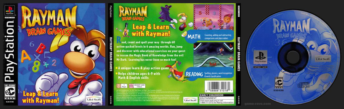 PSX PlayStation Rayman Brain Games Black Label Retail Release