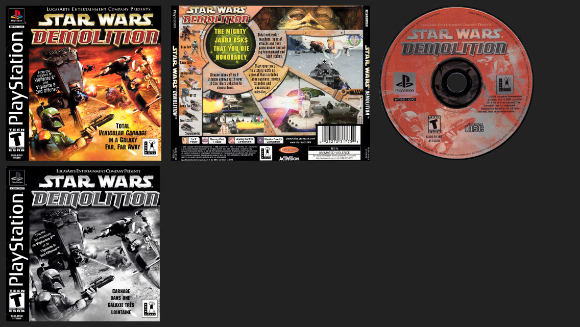PSX PlayStation Star Wars Demolition Canadian Black Label Release with French Manual