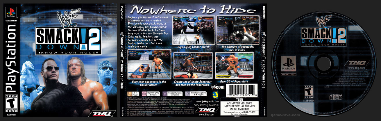 PSX PlayStation WWF Smackdown! 2: Know Your Role Black Label Retail Release