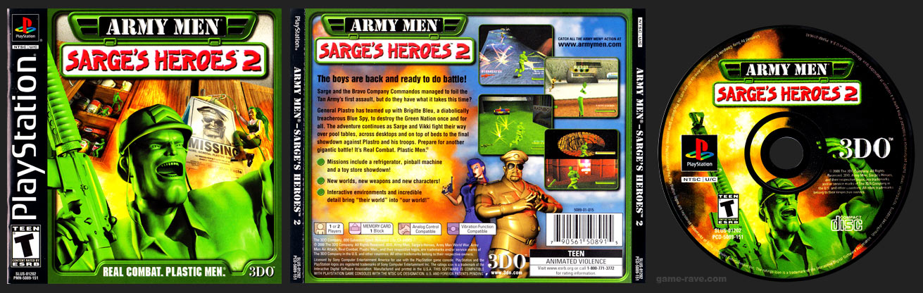 PSX PlayStation Army Men - Sarge's Heroes 2 Black Label Retail Release