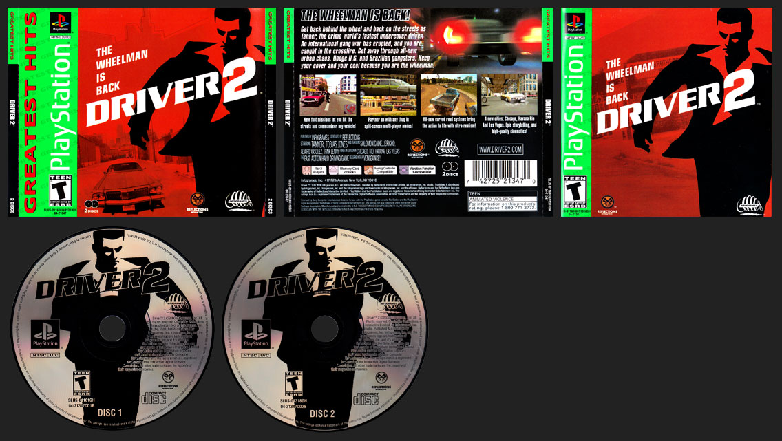 PSX PlayStation Driver 2 Greatest Hits Release