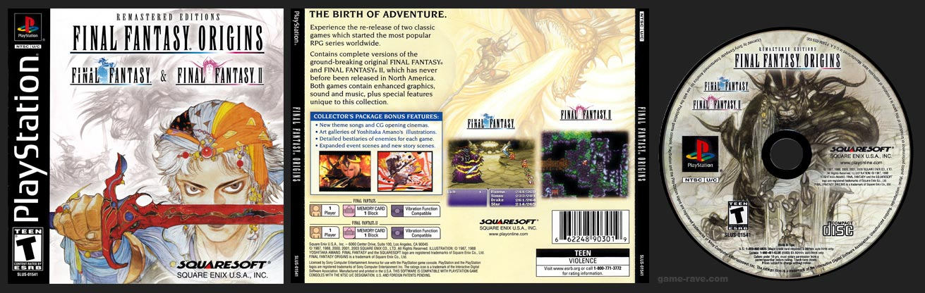 PSX PlayStation Final Fantasy Origins Black Label Retail Release