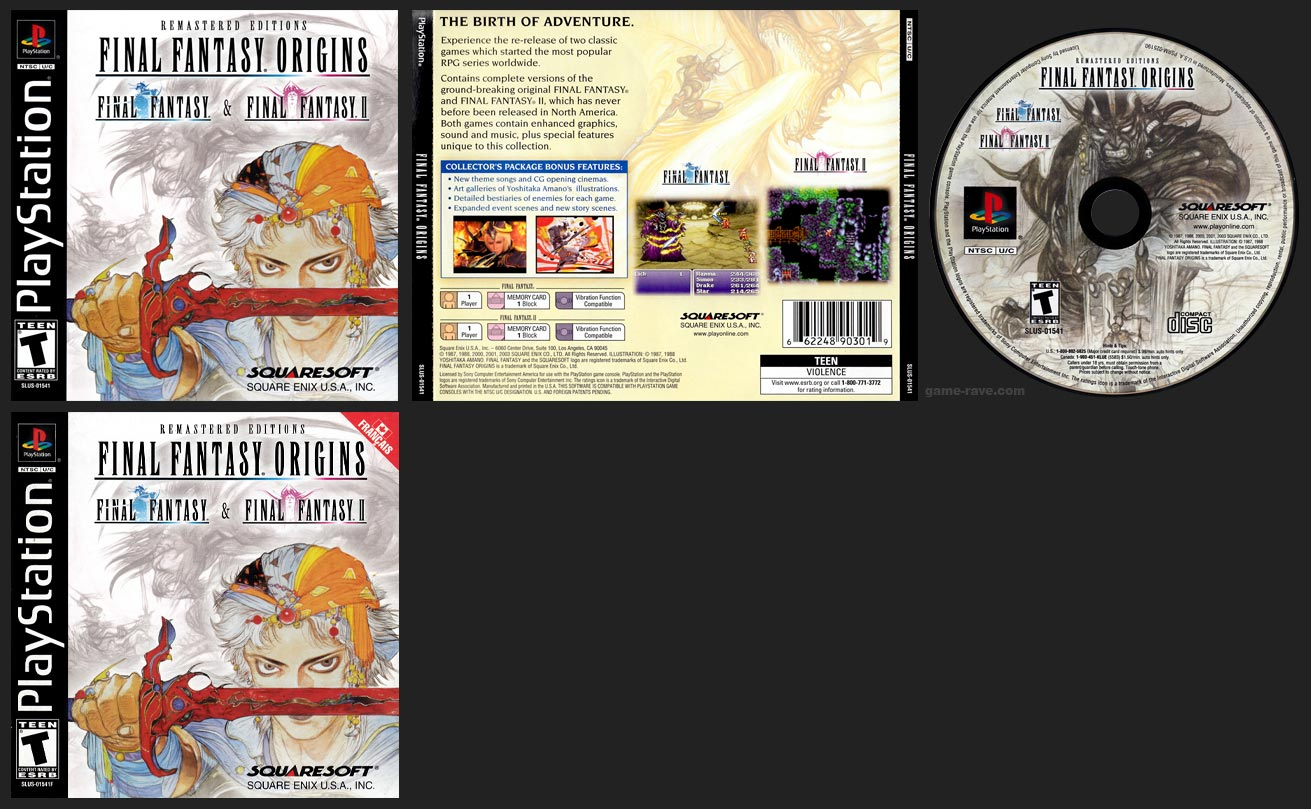 PSX PlaySTation Final Fantasy Origins Black Label Canadian Retail Release with French Manual