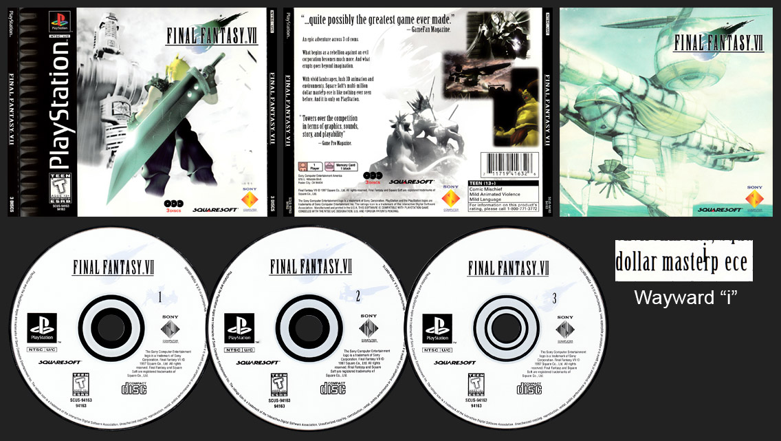 PSX PlayStation Final Fantasy VII Masterpiece Typo with 3rd Disc Hub