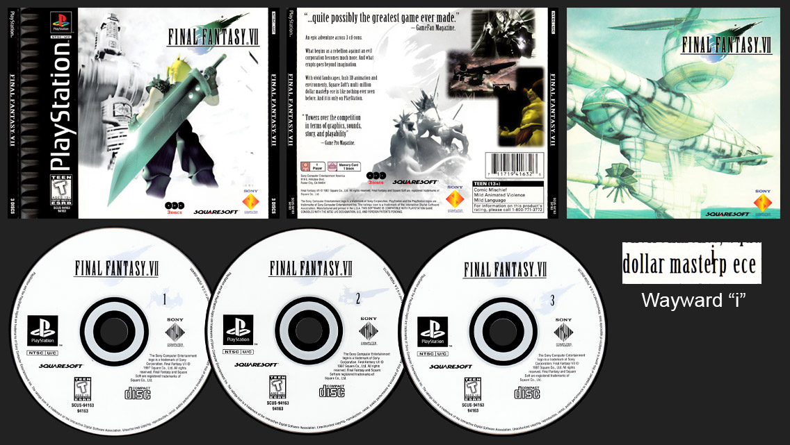PSX PlayStation Final Fantasy VII ESRB Corrected with Plain Masterpiece