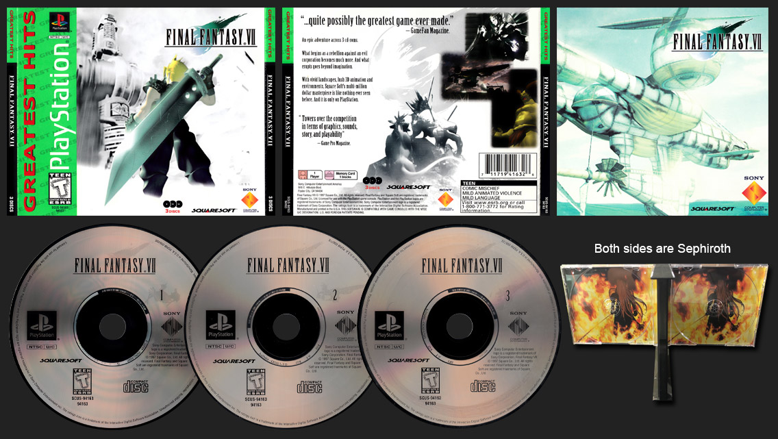 PSX PlayStation Final Fantasy VII Greatest Hits Double Sephiroth Inserts