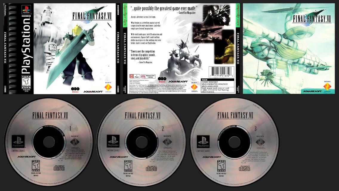PSX PlayStation Final Fantasy VII Greatest Hits Half Black Label Release