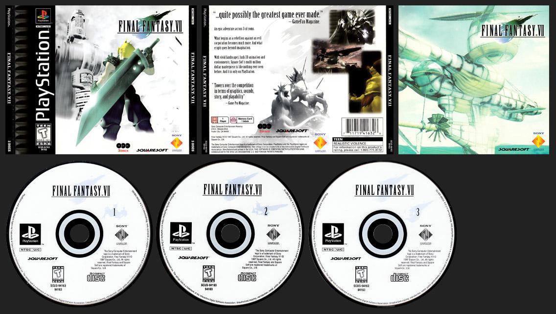 PSX PlayStation Final Fantasy VII Black Label Release - Realistic Violence