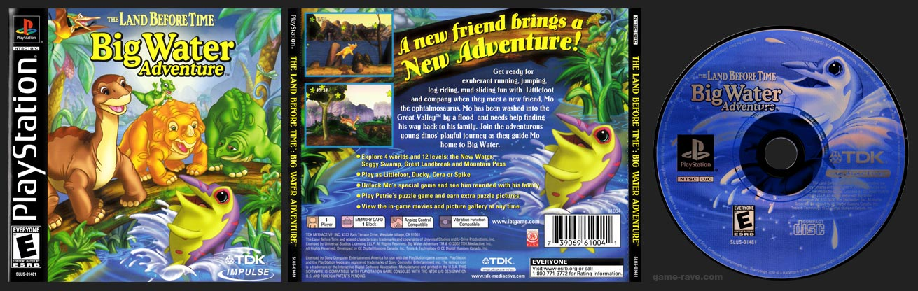 PSX PlayStation The Land Before Time: Big Water Adventure Black Label Retail Release