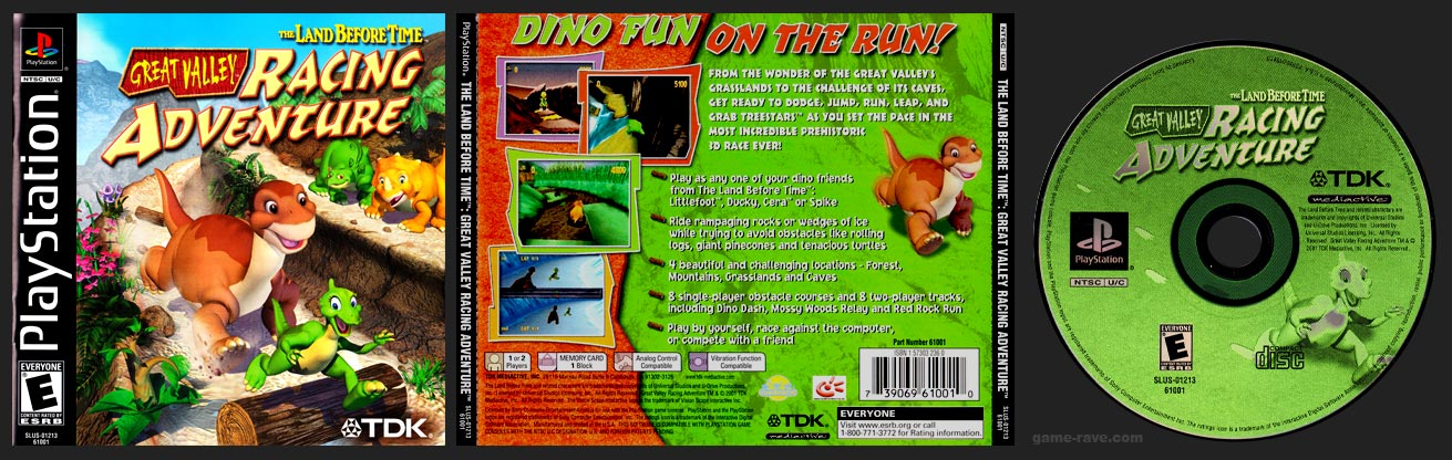 PSX PlayStation The Land Before Time: Great Valley Racing Adventure Black Label Retail Release