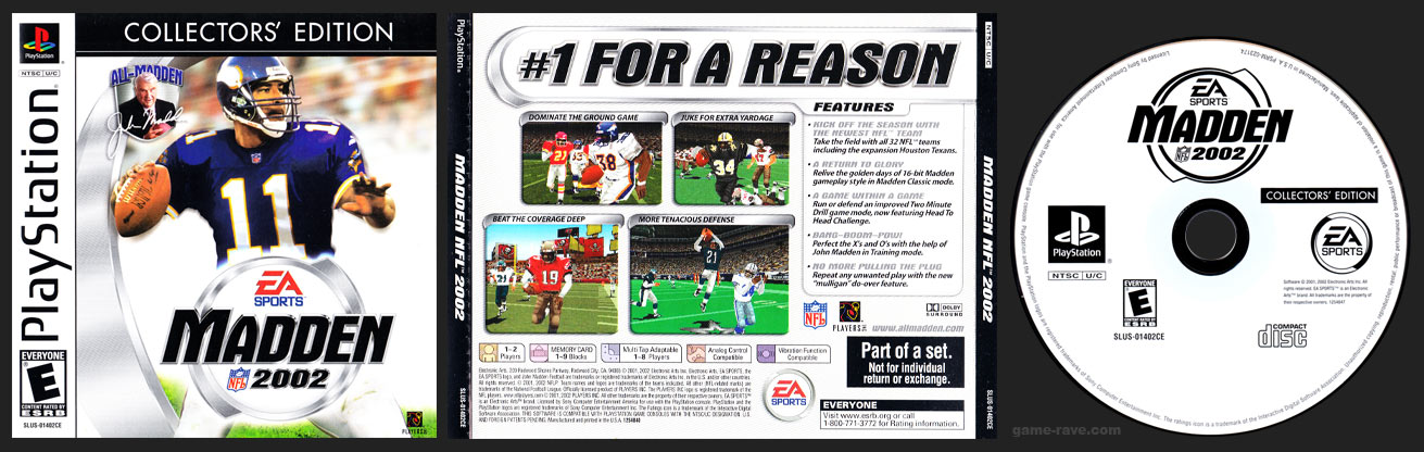 PSX PlayStation Madden NFL 2002 Collector's Edition White Label Release