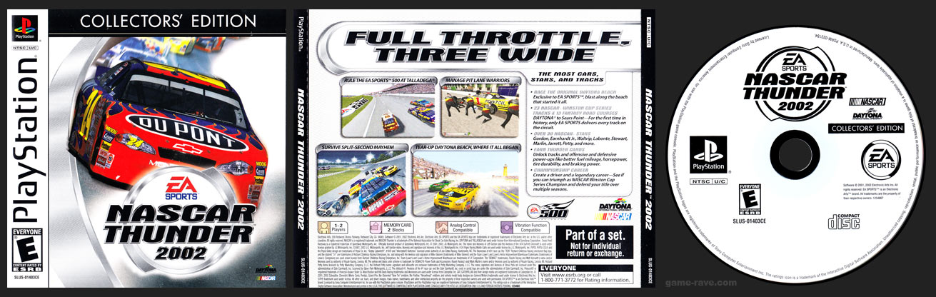 PSX PlayStation NASCAR Thunder 2002 Collector's Edition White Label Release