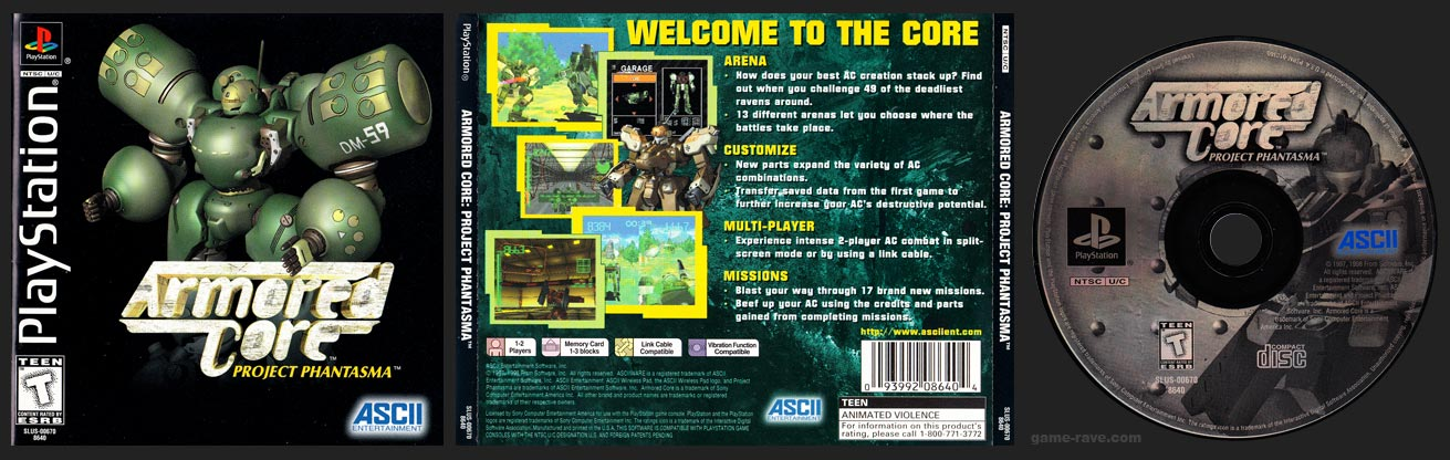 PSX PlayStation Armored Core: Project Phantasma Black Label Retail Release