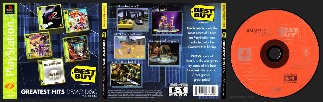 PSX PlayStation Demo Best Buy Greatest Hits Demo Disc Volume One