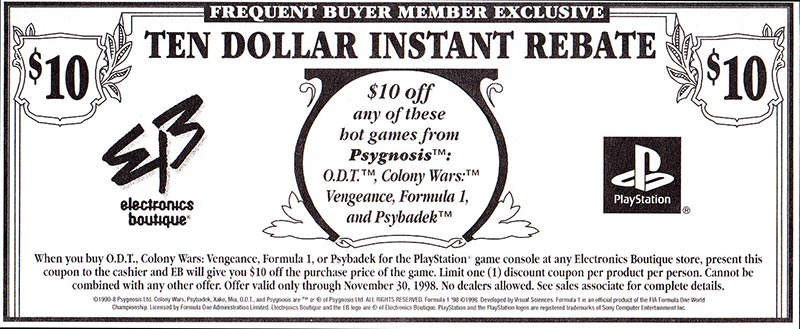 PSX Demo Psygnosis Purple Coupon Web