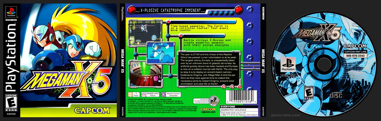 PSX PlayStation Mega Man X5 Black Label Retail Release Shiny Disc Variant