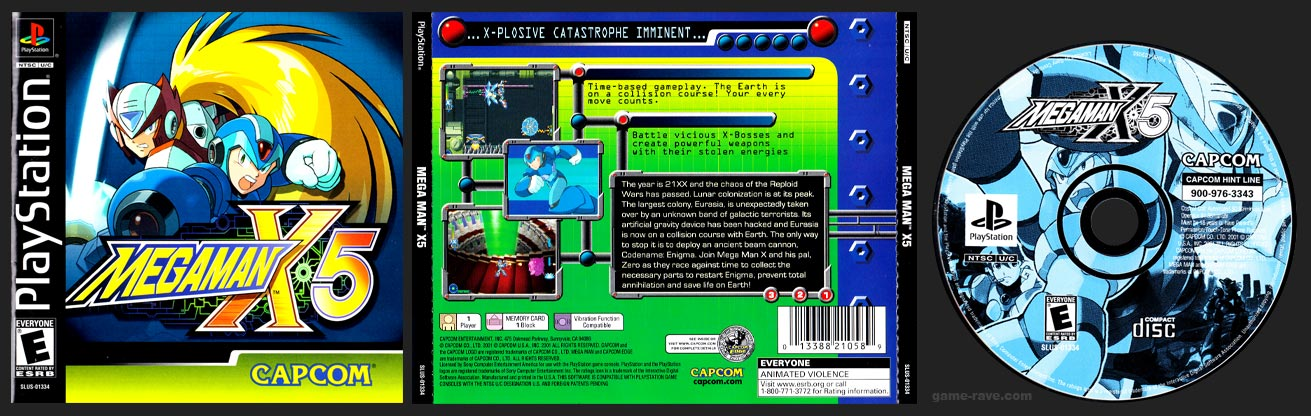 PSX PlayStation Mega Man X5 Black Label Retail Release White Disc Version