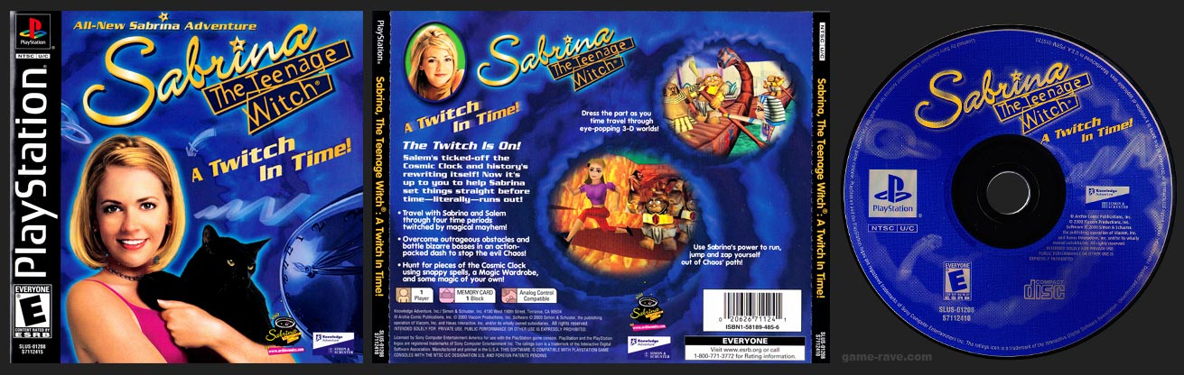 PSX PlayStation Sabrina The Teenage Witch: A Twitch In Time! Black Label Retail Release