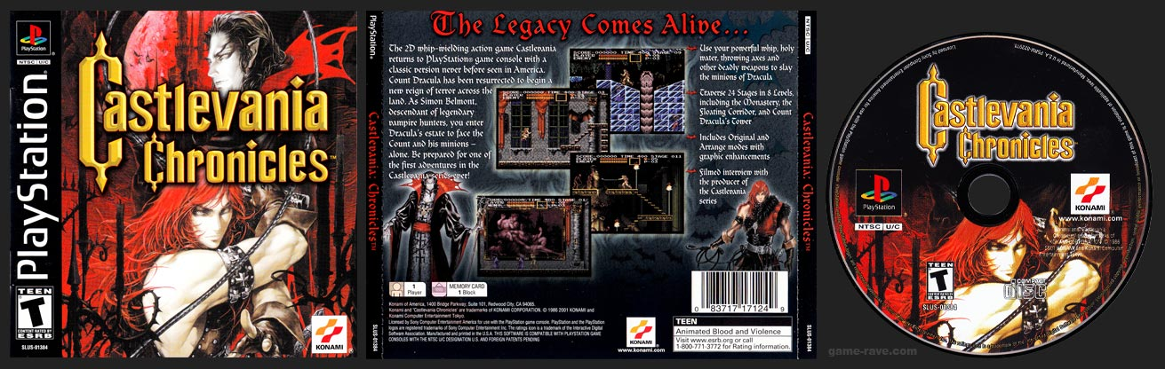 PSX PlayStation Castlevania Chronicles Black Label Retail Release