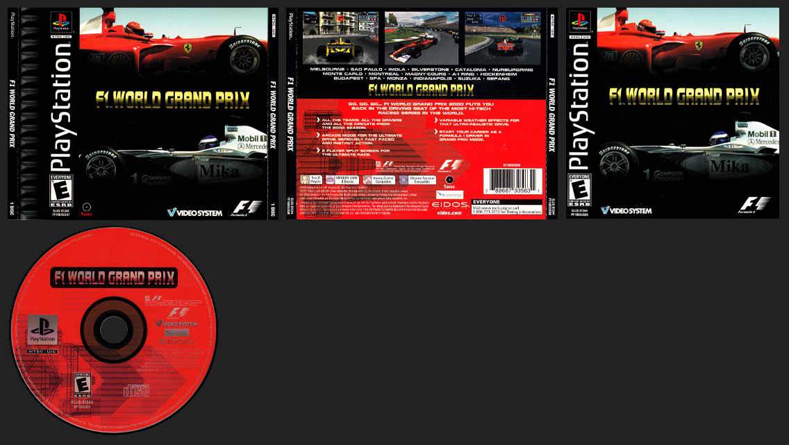 PSX PlaySTation F1 World Grand Prix (2000) Black Label Double Jewel Case Retail Release