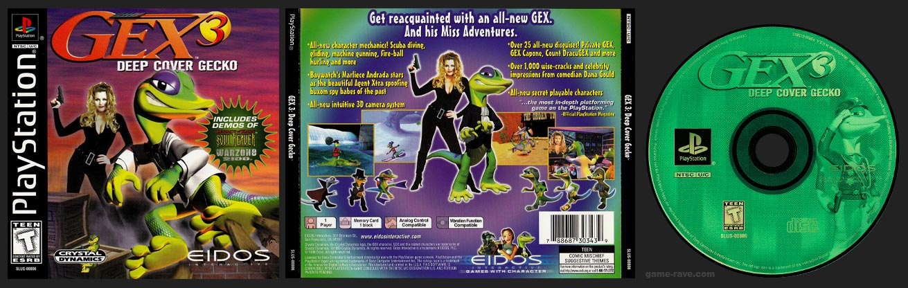 PSX PlayStation Gex 3: Deep Cover Gecko Black Label Retail Release