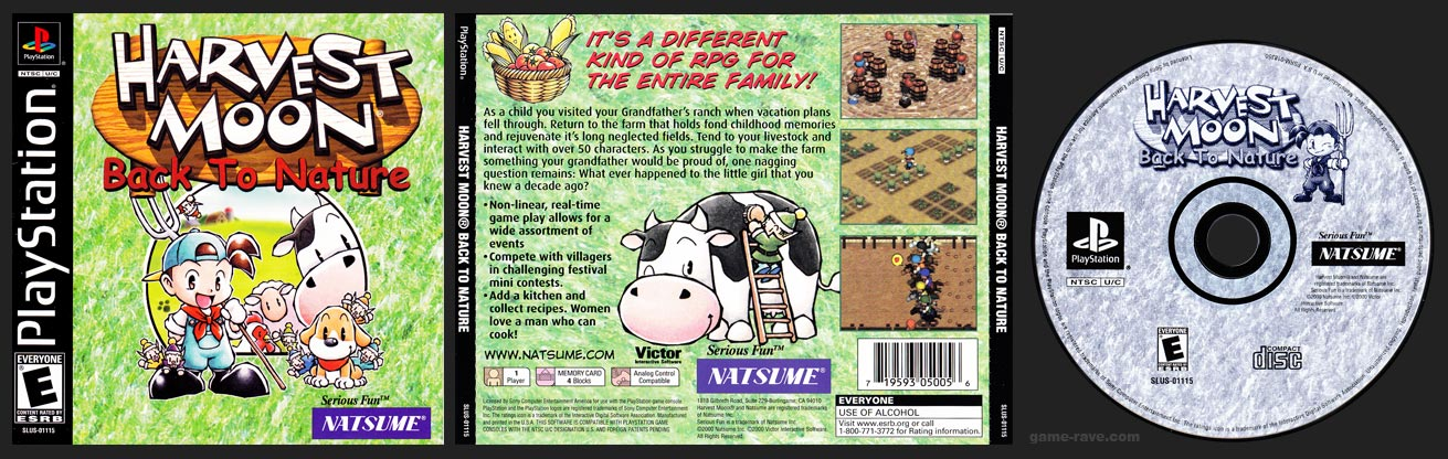 PSX PlayStation Harvest Moon Back to Nature Black Label Retail Release