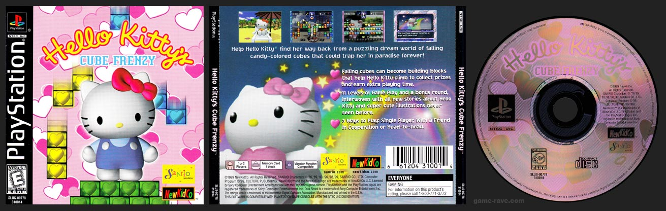 PSX PlayStation Hello Kitty's Cube Frenzy Black Label Retail Release