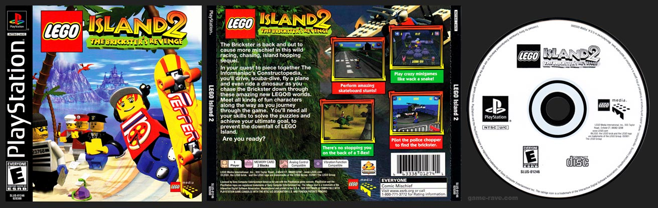 PSX PlayStation Lego Island 2 The Brickster's Revenge Black Label Retail Release