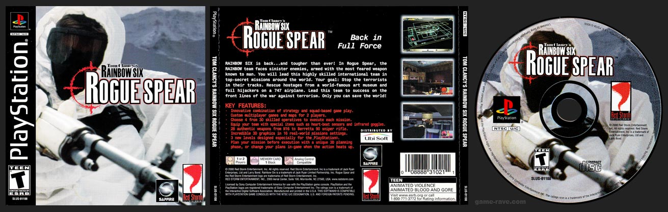 PSX PlayStation Tom Clancy's Rainbow Six Rogue Spear Black Label Retail Release