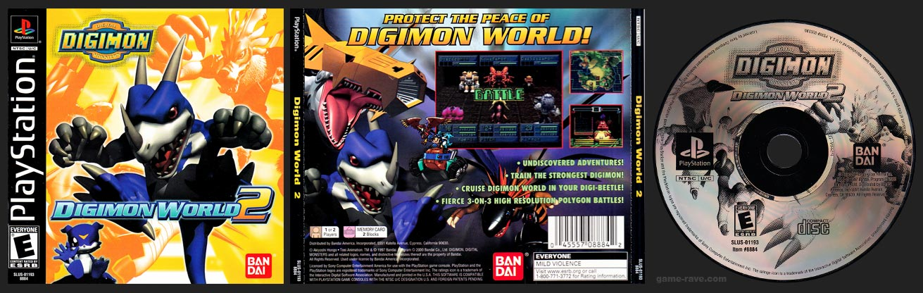 PSX PlayStation Digimon World 2 Black Label Retail Release