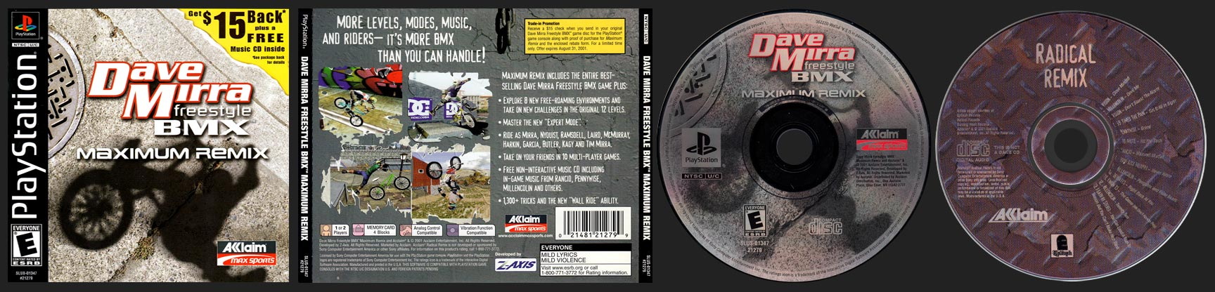 PSX PlayStation Dave Mirra Freestyle BMX Maximum Remix Black Label Retail Release with Music CD