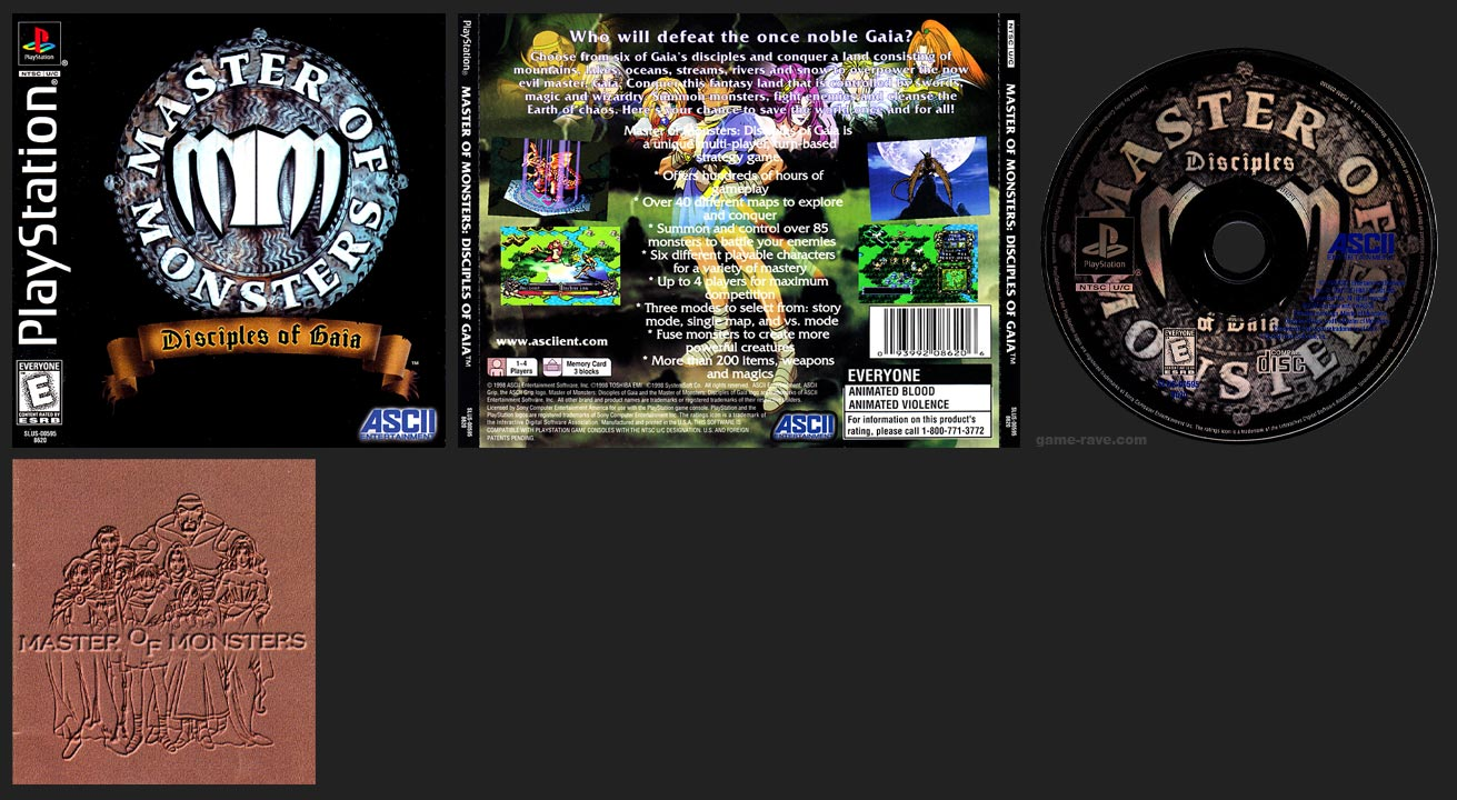 PSX PlayStation Master of Monsters: Disciples of Gaia with Mini-Guide Black Label Retail Release