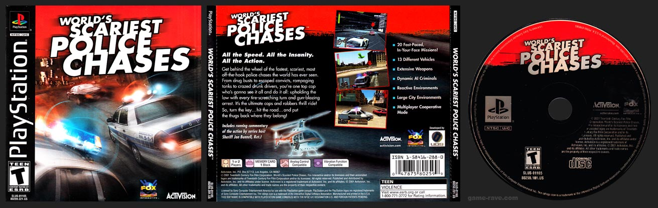 PSX PlayStation World's Scariest Police Chases Black Label Retail Release