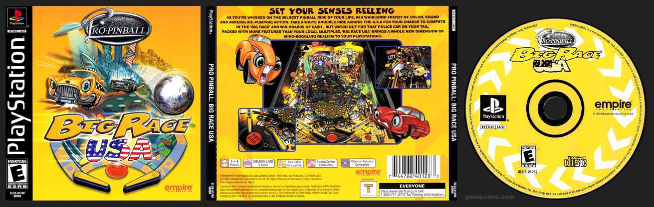 PSX PlayStation Pro-Pinball: Big Race USA Black Label Retail Release