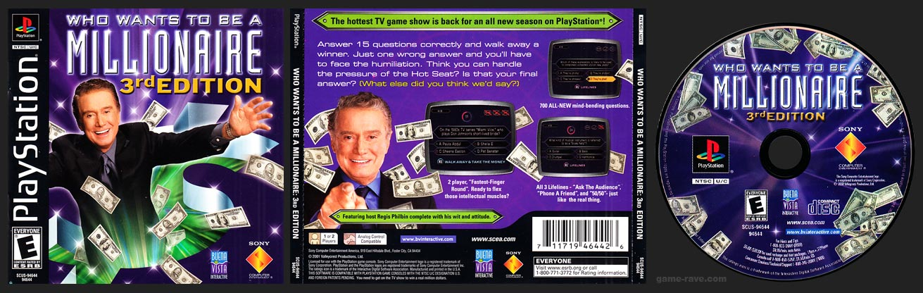 PSX PlayStation Who Wants To Be A Millionaire: 3rd Edition Black Label Retail Release