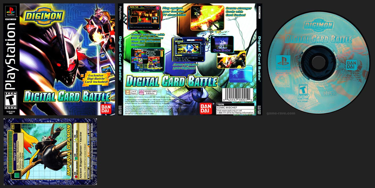 PSX Digimon Digital Card Battle with Trading Card Black Label Retail Release