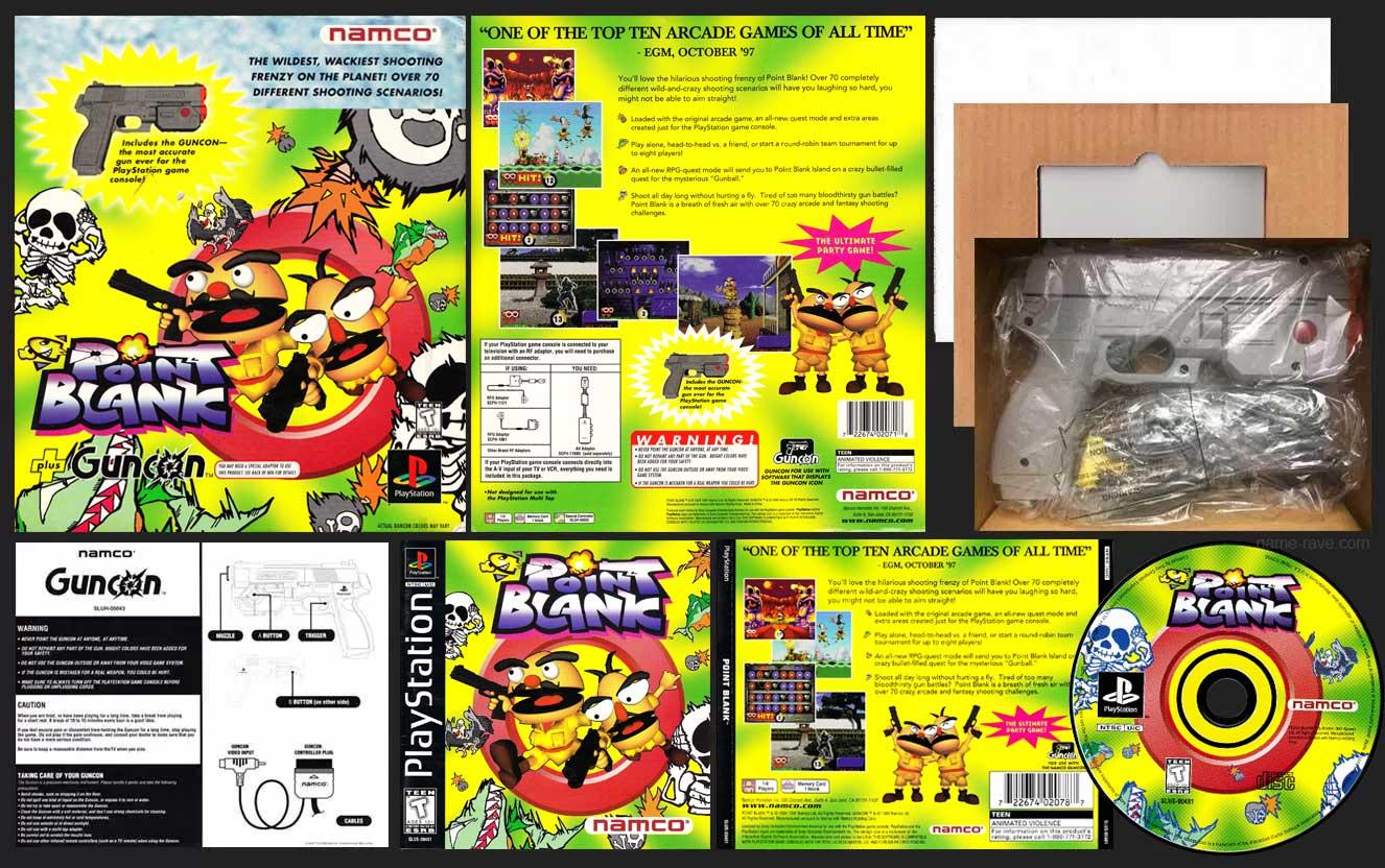 PSX PlayStation Point Blank Guncon Bundle Black Label Retail Release