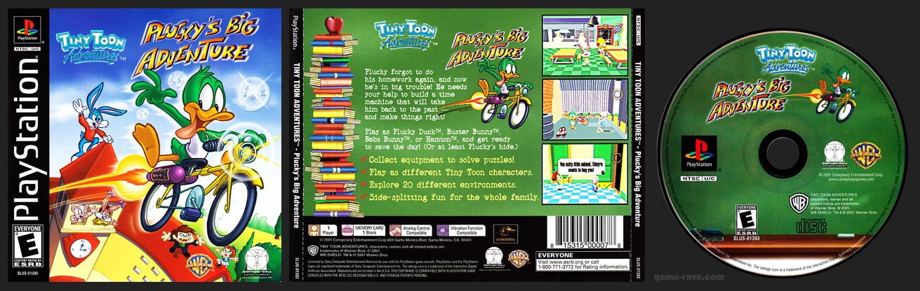PSX PlayStation Tiny Toons Plucky Big Adventure Black Label No Ring Retail Release